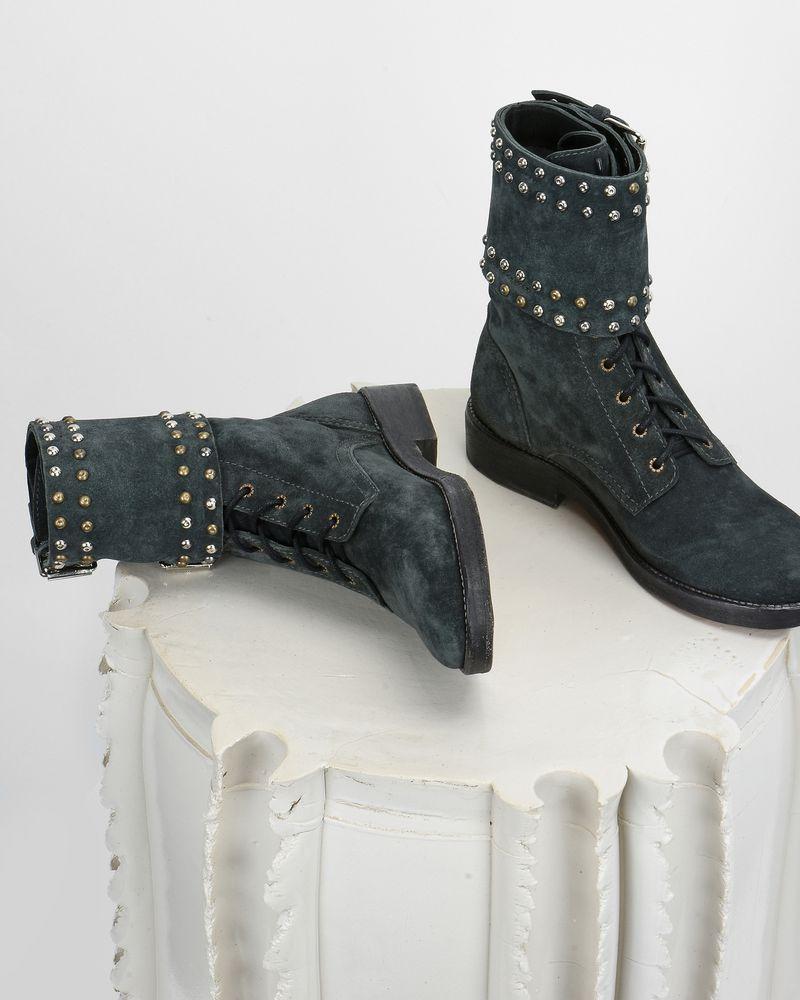Teylon 军靴式钉饰皮革踝靴 ISABEL MARANT