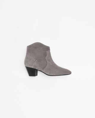 DICKER suede mid-heel ankle boots