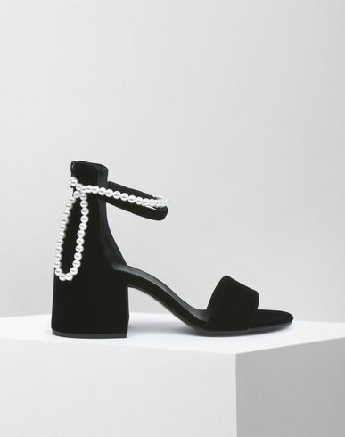 MM6 MAISON MARGIELA Sandals D Velvet sandals with faux pearl detail f