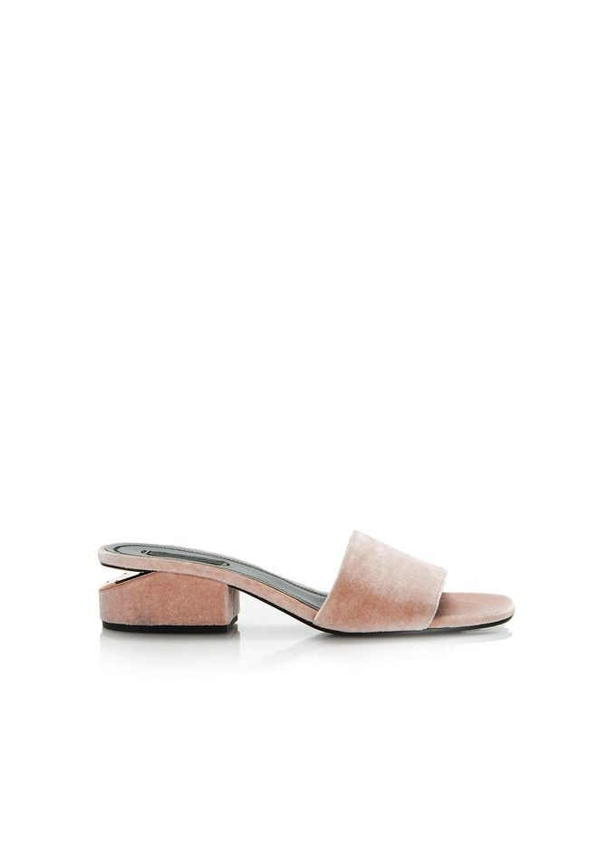 ALEXANDER WANG FLATS Women LOU VELVET SANDAL WITH RHODIUM