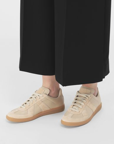 SHOES Calfskin and suede Replica sneakers Beige