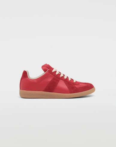 SHOES Calfskin and suede Replica sneakers Red