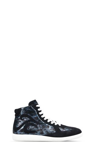 High-top, lace-up snakeskin sneakers