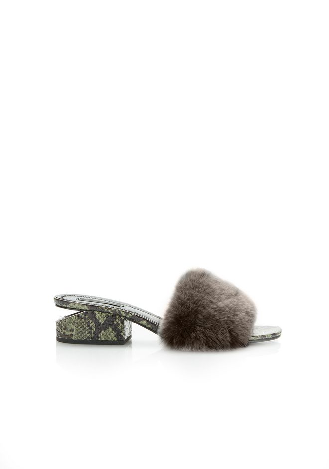 ALEXANDER WANG sandals FUR LOU SANDAL WITH RHODIUM