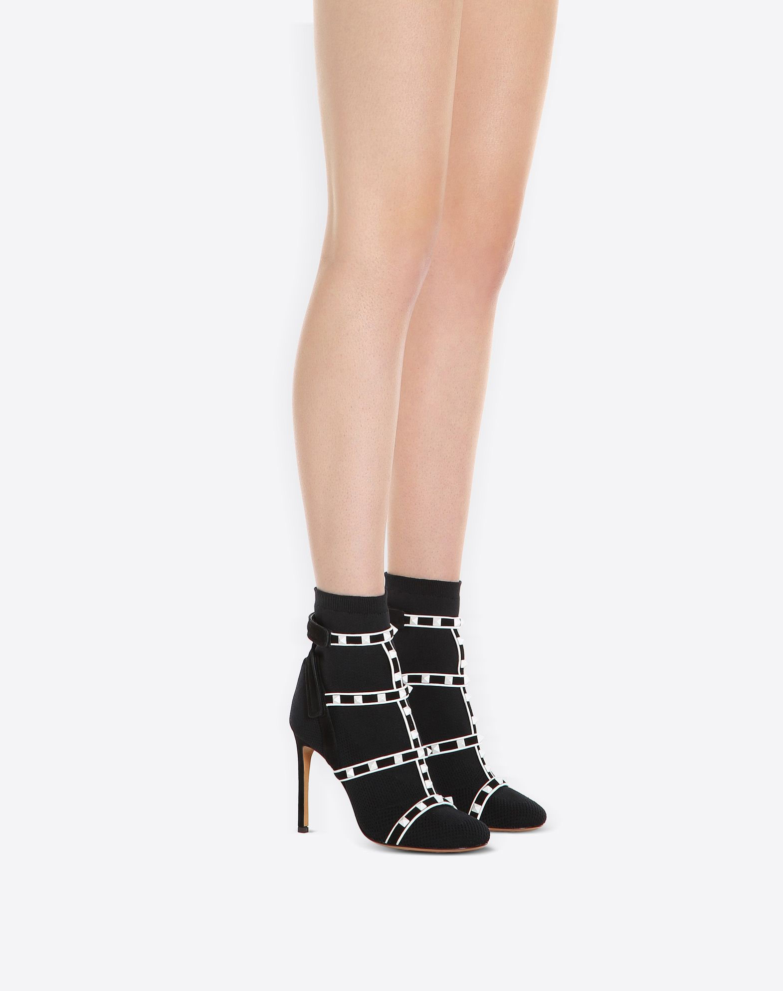 VALENTINO Round toeline Velcro closure Leather sole Stiletto heel Studs Knitted Suede effect  11357972fo