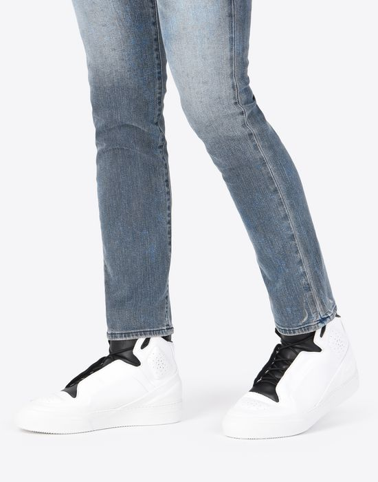 MAISON MARGIELA Two-tone high top leather sneakers Sneakers [*** pickupInStoreShippingNotGuaranteed_info ***] b