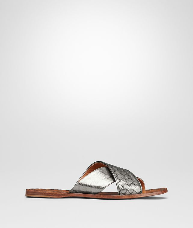 BOTTEGA VENETA ARGENTO ANTIQUE INTRECCIATO FURROW METAL RAVELLO SANDAL Sandals [*** pickupInStoreShipping_info ***] fp