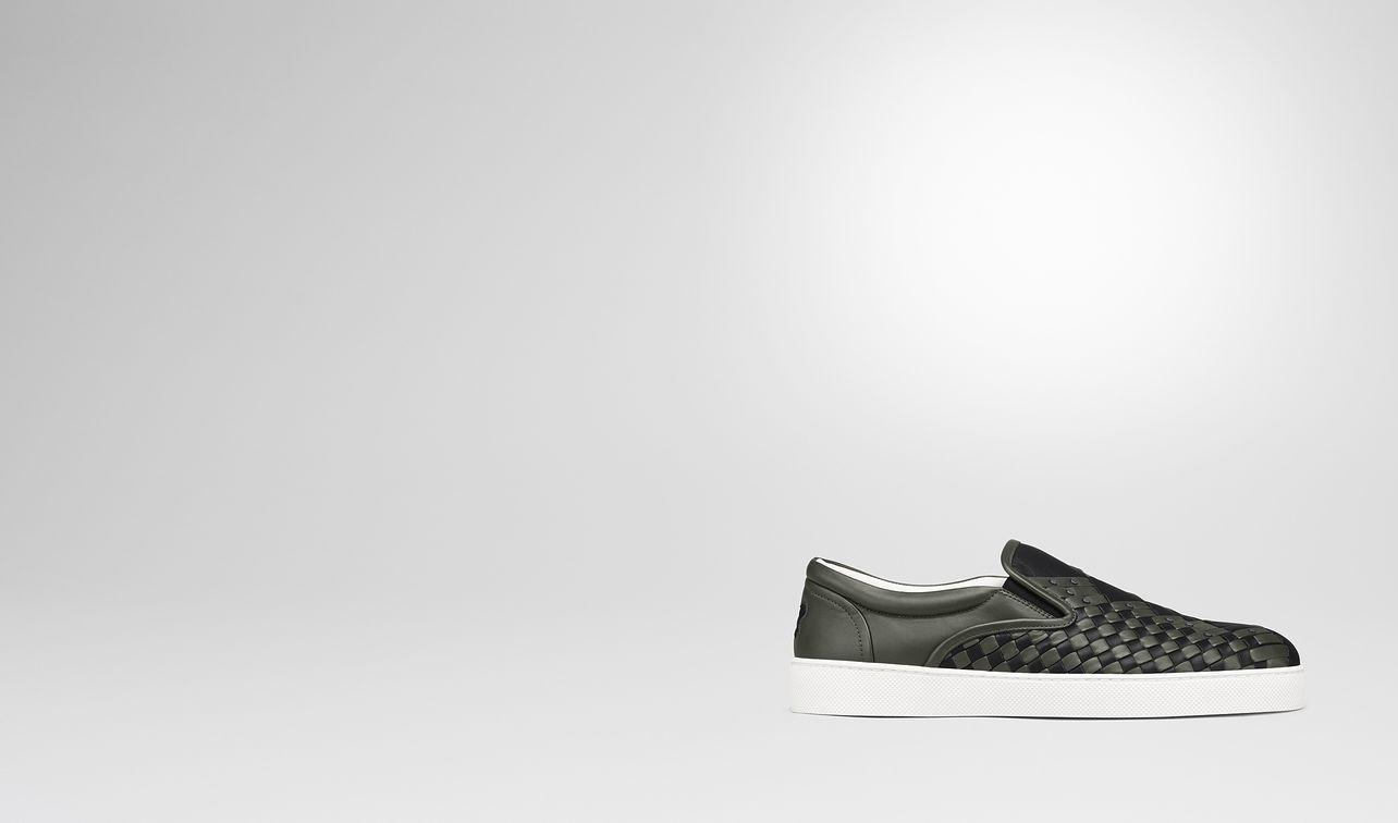 nero dark moss intrecciato nappa dodger sapa sneaker landing