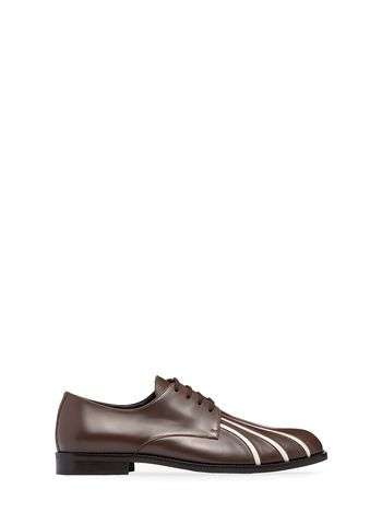 Marni Lace-up Oxford in brown and white calfskin Man
