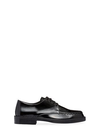 Marni Lace-up in black calfskin with stitchwork Man