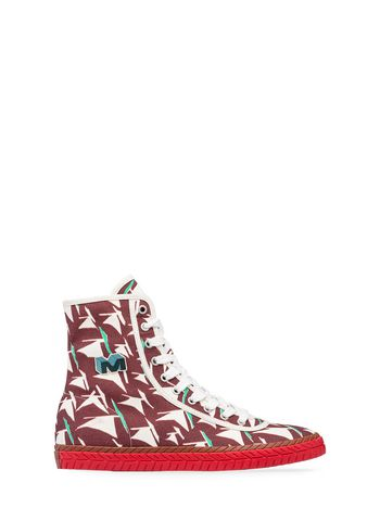 Marni High-top sneaker in burgundy canvas Sail print Man