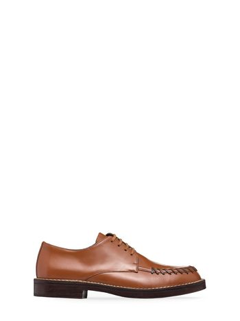 Marni Lace-up in brown calfskin with stitchwork Man