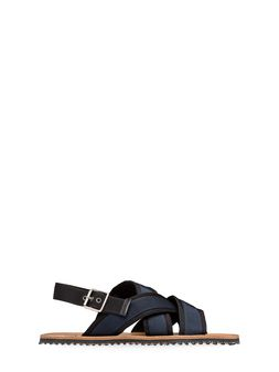 Marni Sandal in black and blue ribbon  Man