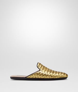 LIGHT GOLD INTRECCIATO FURROW METAL FIANDRA SLIPPER