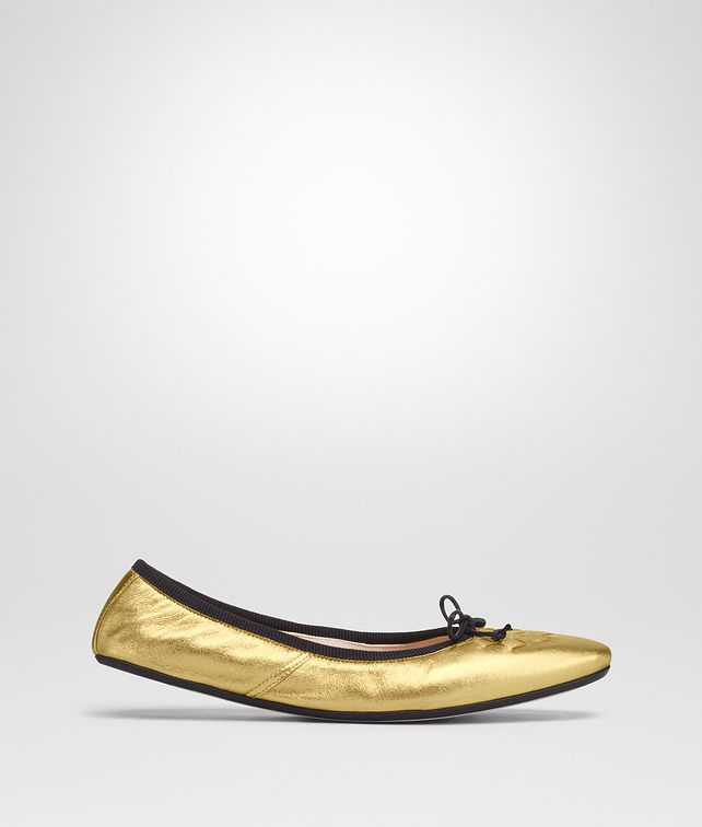 BOTTEGA VENETA LIGHT GOLD INTRECCIATO NAPPA LAMÉ PICNIC BALLERINA Flat [*** pickupInStoreShipping_info ***] fp