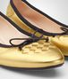 BOTTEGA VENETA LIGHT GOLD INTRECCIATO NAPPA LAMÉ PICNIC BALLERINA Flat Woman ap