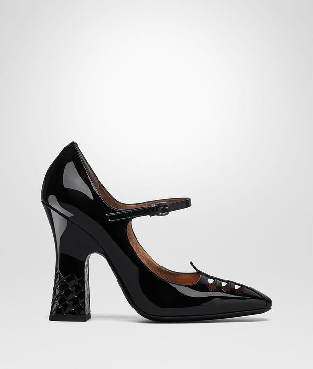 BOTTEGA VENETA NERO PATENT CALF POLIGNAC MARY JANE Pump or Sandal D fp