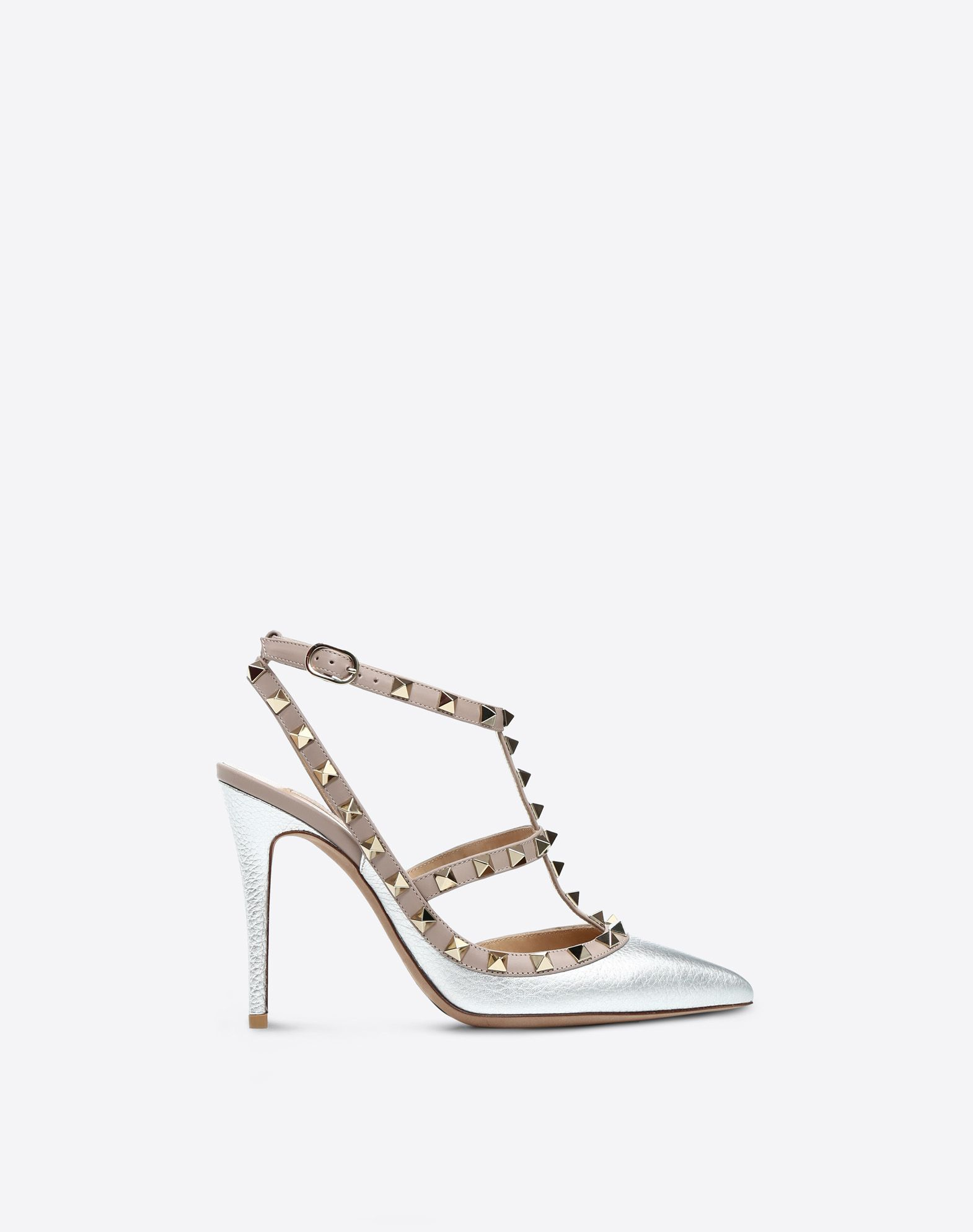 VALENTINO Basic solid color Laminated effect Studs Buckle Leather sole  11378846rw