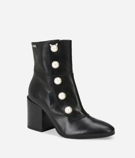 KARL LAGERFELD LAVINIA LEATHER MIDI BOOT WITH PEARLS