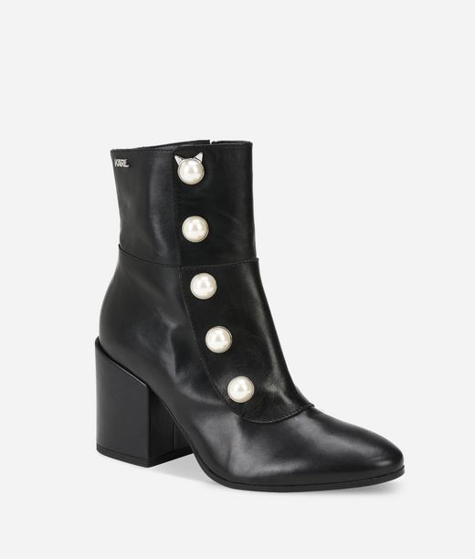 KARL LAGERFELD LAVINIA Leather Midi Boot with Pearls 12_f