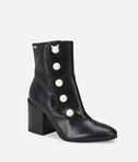 LAVINIA Leather Midi Boot with Pearls