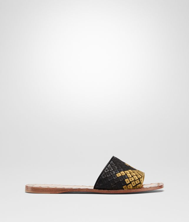 BOTTEGA VENETA NERO ORO ANTICO NAPPA RAVELLO SANDAL Sandals [*** pickupInStoreShipping_info ***] fp