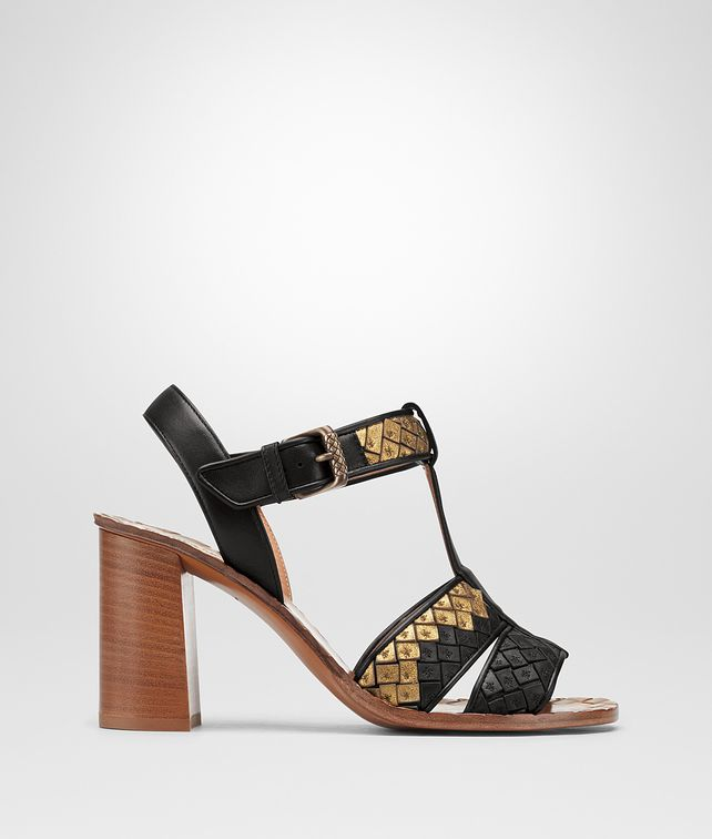 BOTTEGA VENETA NERO ORO ANTICO NAPPA RAVELLO SANDAL  Sandals Woman fp