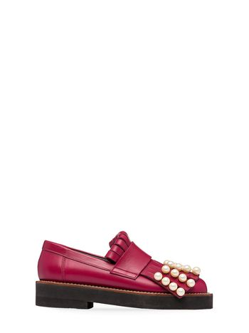 Marni Moccasin in calf with fringes and pearls Woman