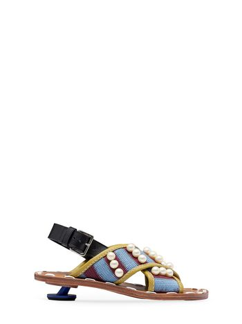 Marni Crossover sandal in woven cotton Woman