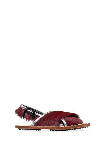 Marni Sandal in calfskin with pony effect Woman