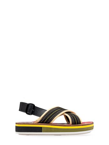 Marni Wedge in cotton ribbon with yellow topstitching Woman