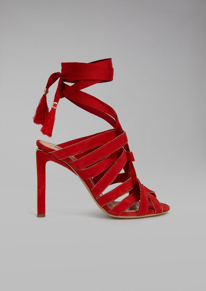 c8c13742c1d SANDALS WITH HEEL AND BRAIDED LACES | Woman | Giorgio Armani