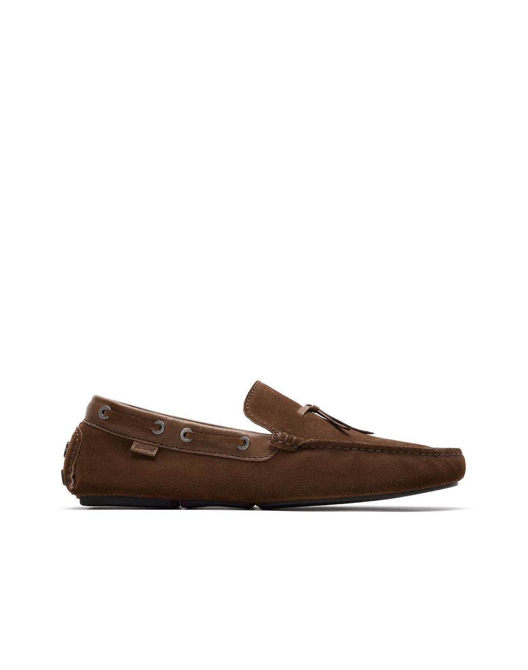 BRIONI Brown Unlined Calf Suede Loafer Loafers Man f