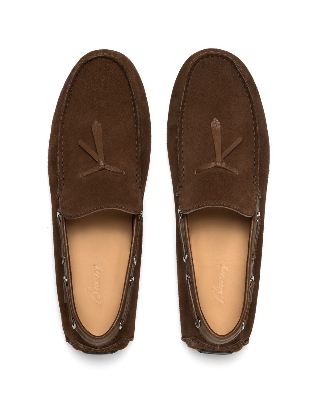 BRIONI Brown Unlined Calf Suede Loafer Loafers Man r