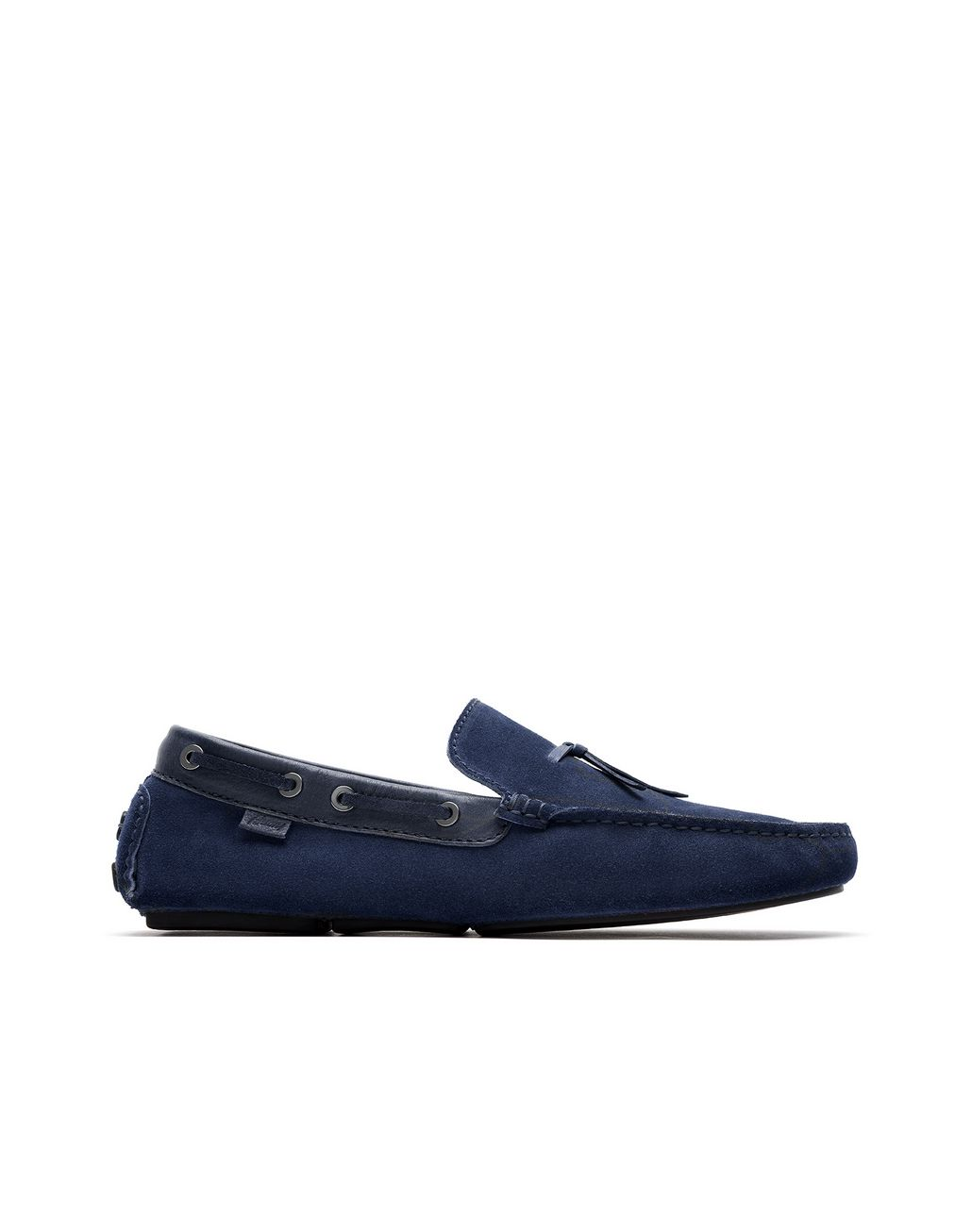 BRIONI Navy-Blue Unlined Calf Suede Loafer Loafers Man f