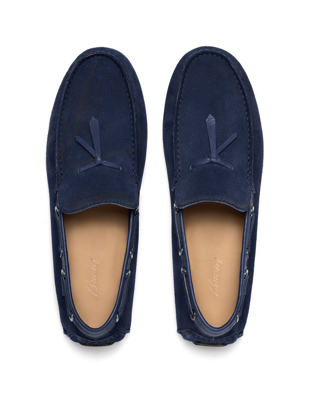BRIONI Navy Blue Unlined Calf Suede Loafer Loafers Man r