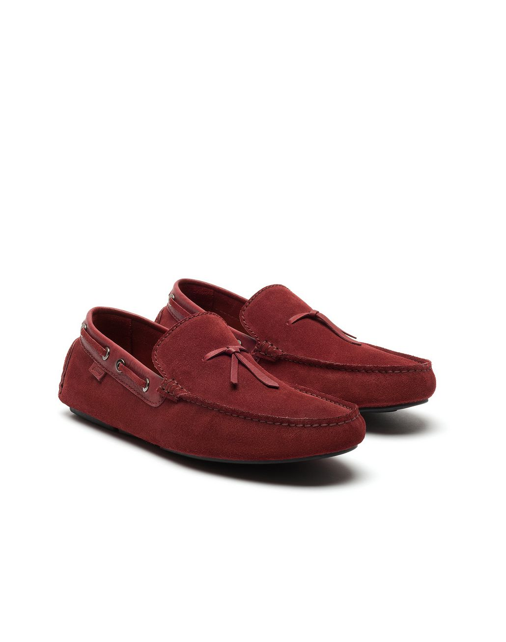 BRIONI Bordeaux Unlined Calf Suede Loafer Loafers Man d