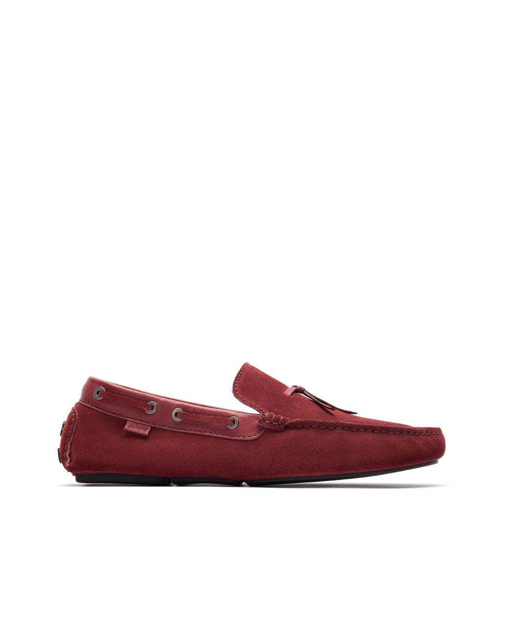 BRIONI Bordeaux Unlined Calf Suede Loafer Loafers Man f