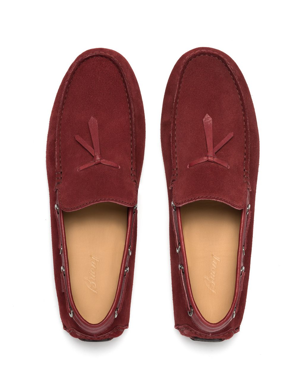 BRIONI Bordeaux Unlined Calf Suede Loafer Loafers Man r
