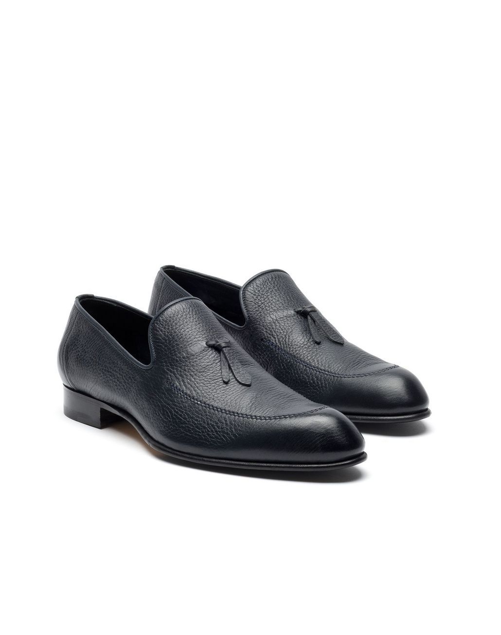 BRIONI Blue Deerskin Tassel Loafer Loafers Man d