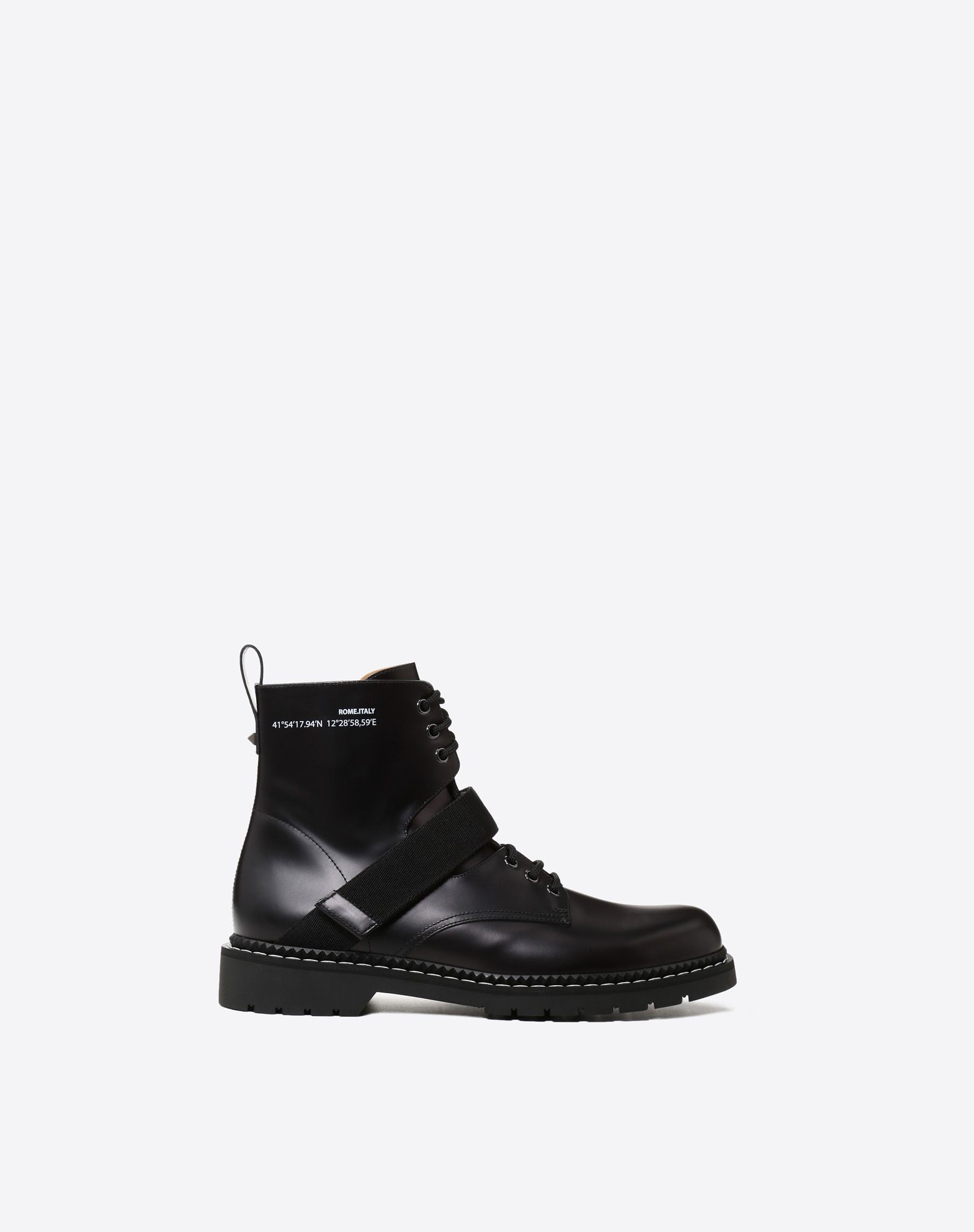 VALENTINO Round toeline Laces Leather lining Rubber sole Strap detailing  11394775rj
