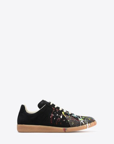 "MAISON MARGIELA Sneakers U Calfskin paint-drop ""Replica"" sneakers f"