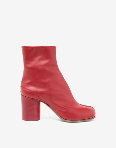 SHOES Tabi calfskin boots Red