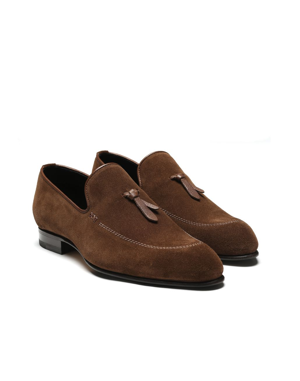 BRIONI Brown Unlined Suede Tassel Loafer Loafers Man d