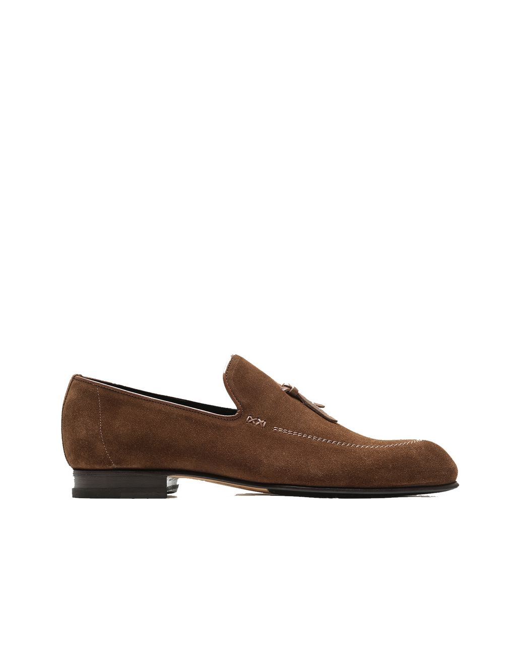 BRIONI Brown Unlined Suede Tassel Loafer Loafers Man f