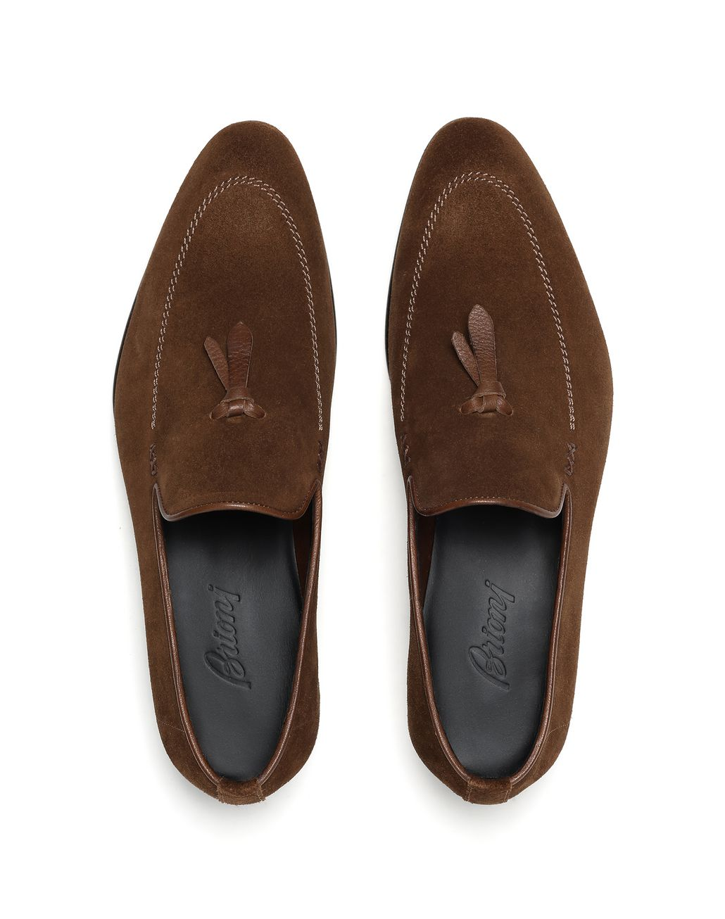 BRIONI Brown Unlined Suede Tassel Loafer Loafers Man r