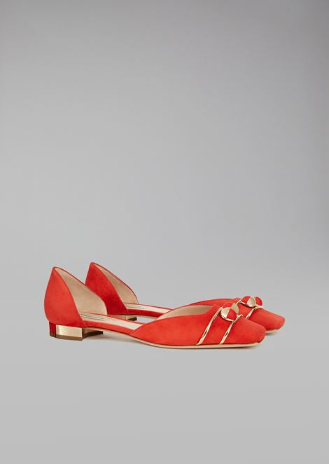 Suede ballet flats with balls