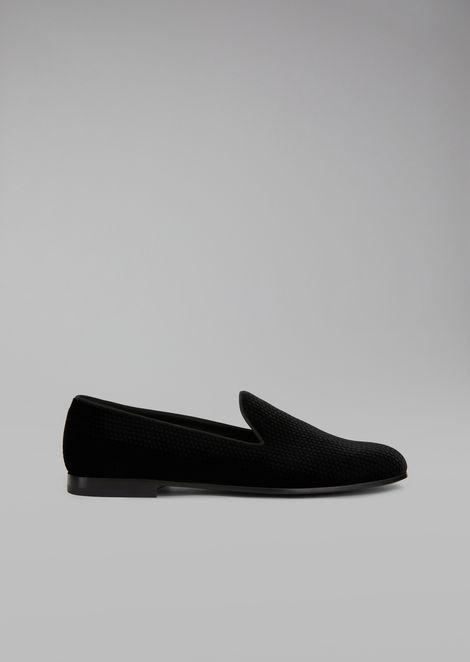 Loafers in lasered velvet