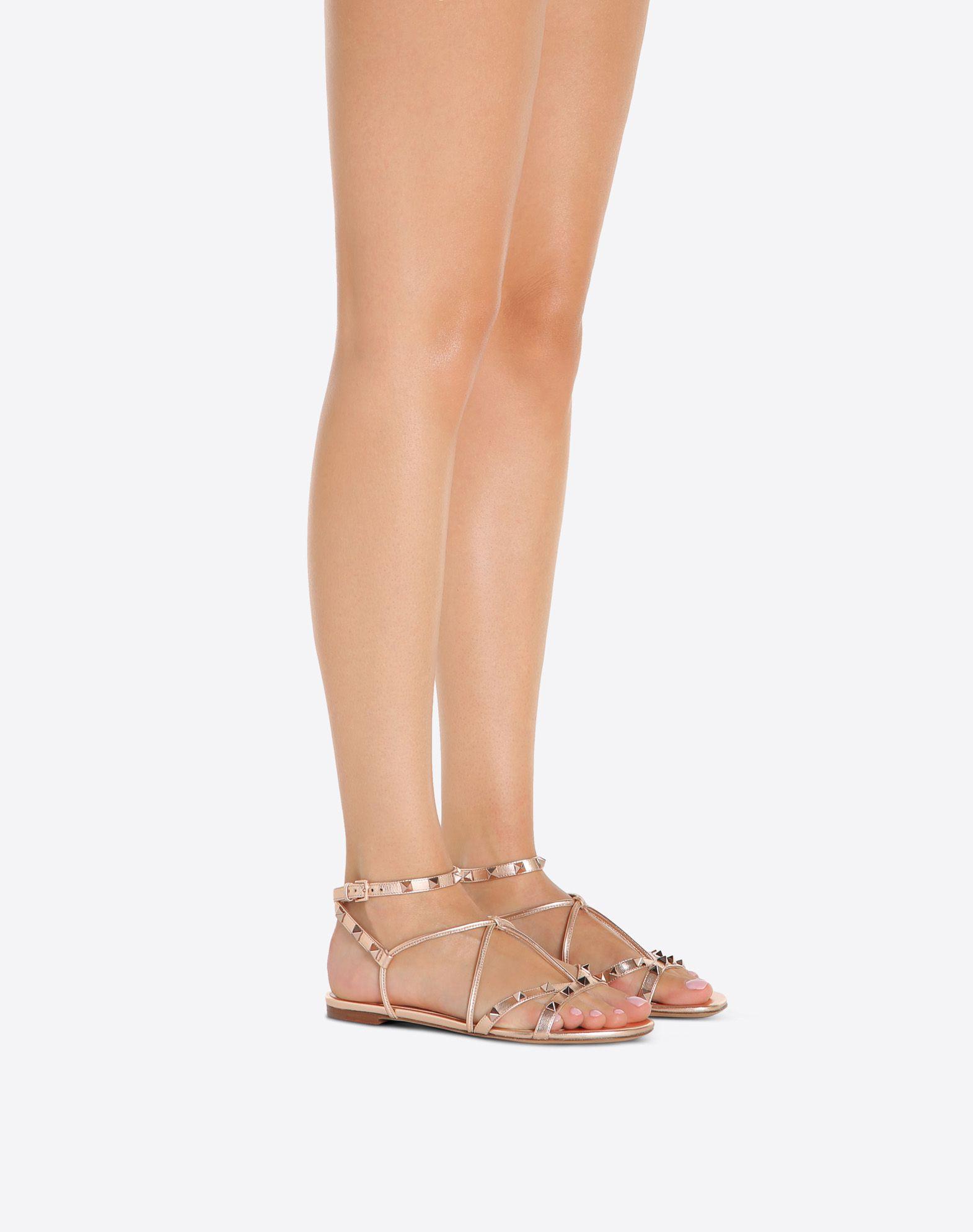 Free Rockstud Metallic Sandals in Copper Metallic Calf Valentino sHIWdVUrm