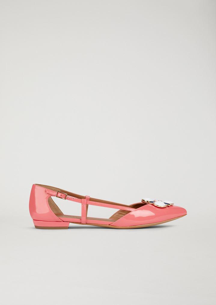 61b5a1e4ae489 Patent Leather ballet flats With Jewel Appliqué | Woman | Emporio Armani